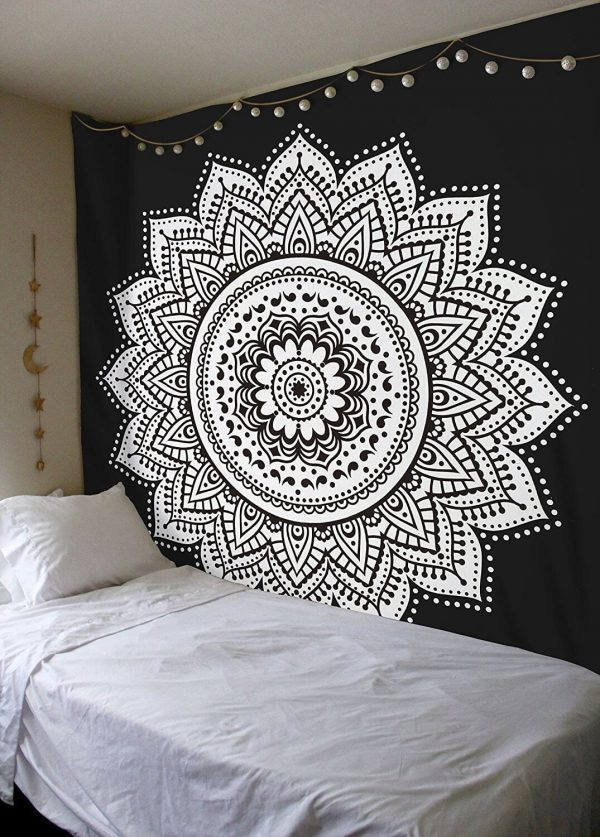 Black and White Mandala Tapestries