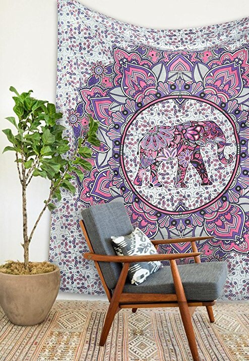 Pink and Purple Bed Tapestry
