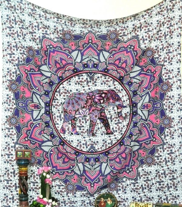 Pink and Purple Elephant Tapestry