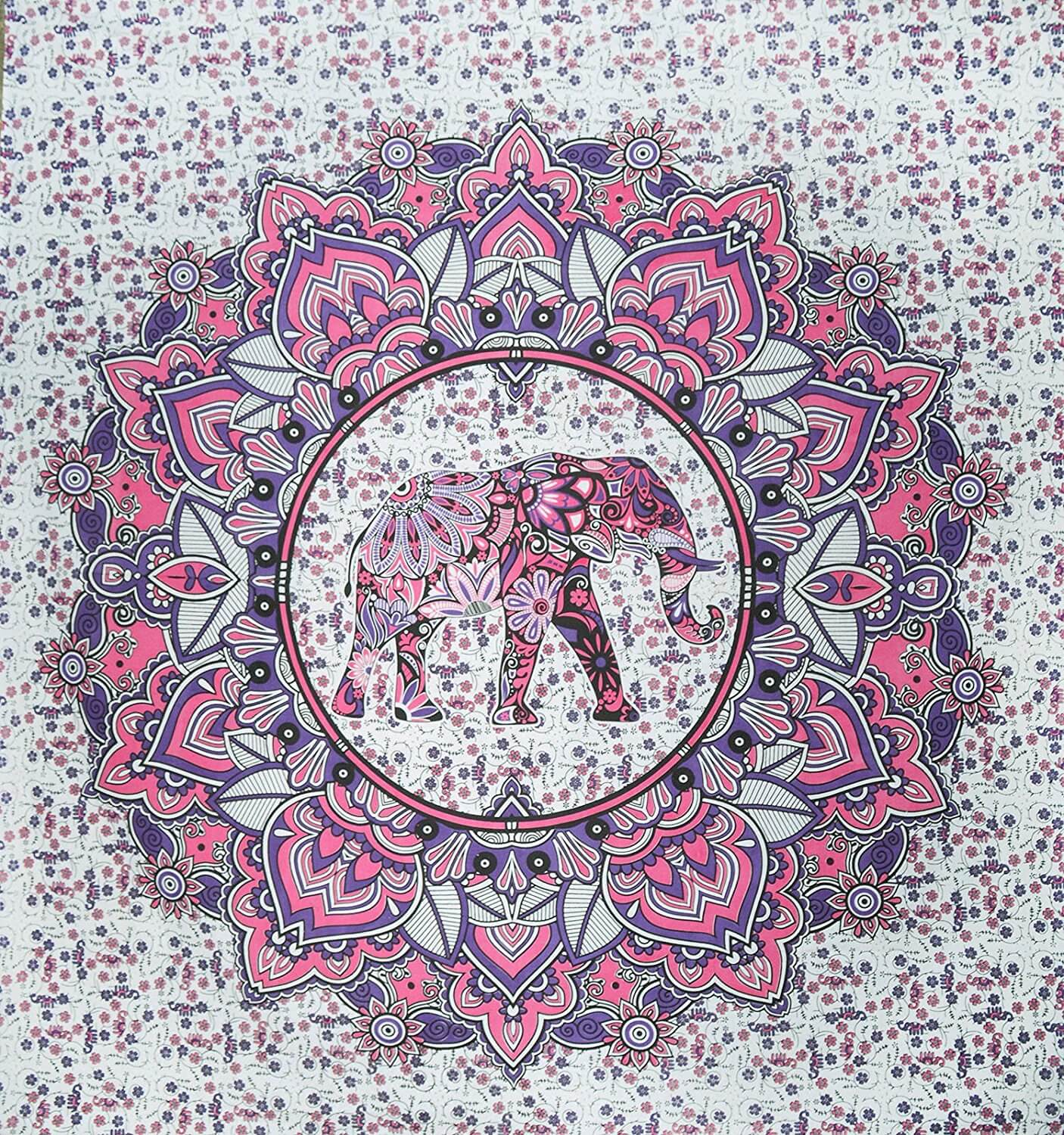 Pink and Purple Mandala Tapestry