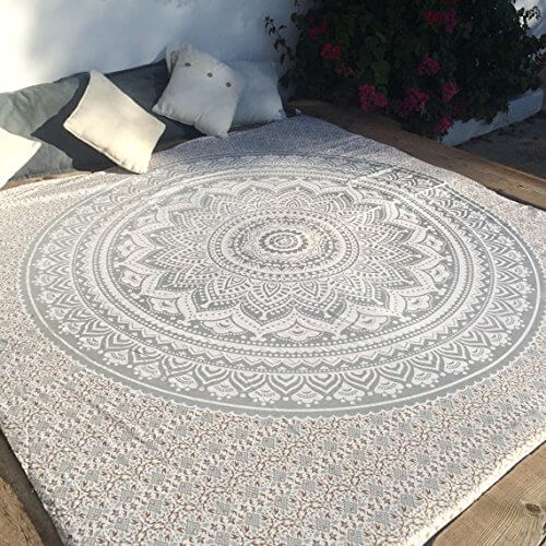 Silver Mandala Hippie Tapestry