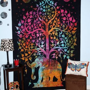 elephant tapestries black